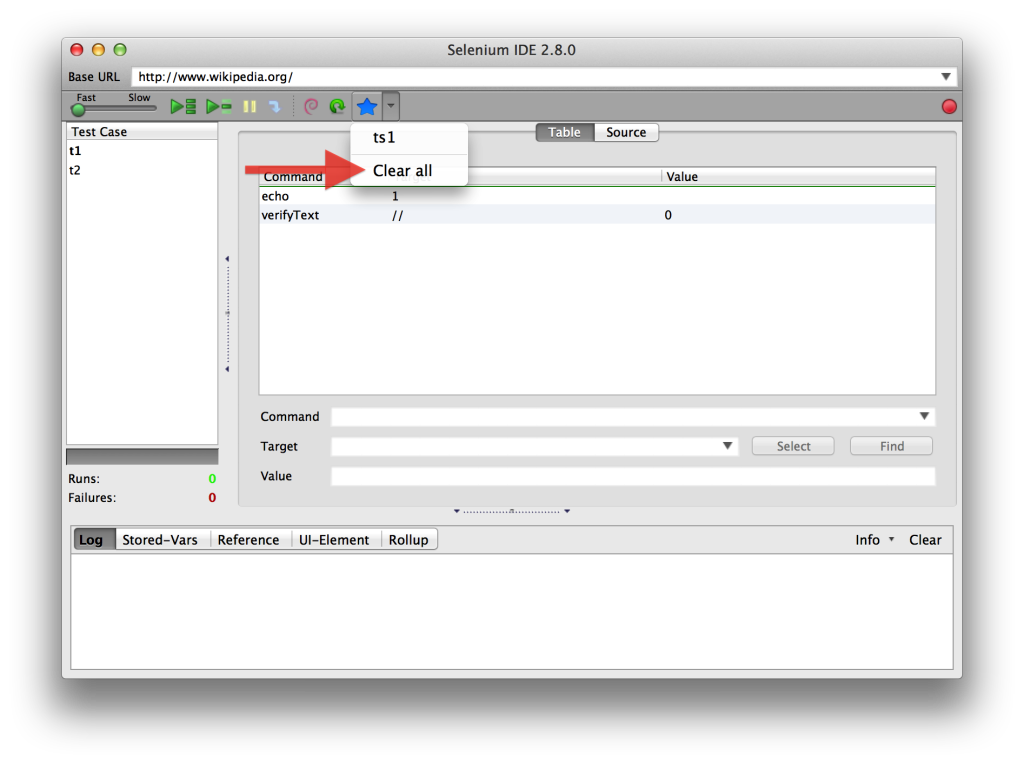 Favorites Toolbar Button Menu Clear all OSX