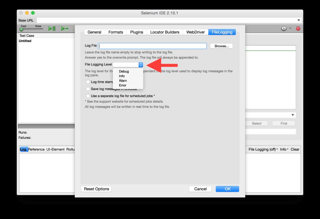 FileLogging Options Tab Log Level