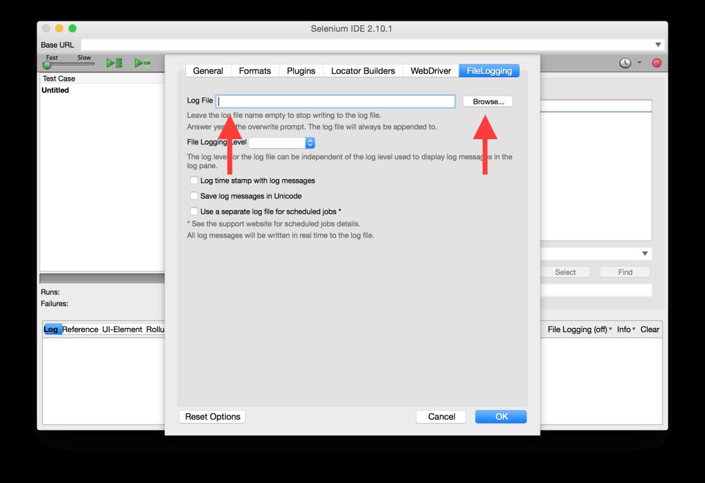 FileLogging Options Tab LogFile